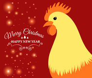 Merry Christmas e-card with rooster and designed text. Vector illustration. Vector illustration of Merry Christmas e-card with cock and designed text Stock Image