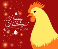 Merry Christmas e-card with rooster and designed text. Vector illustration. Vector illustration of Merry Christmas e-card with cock and designed text Stock Photos