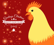 Merry Christmas e-card with rooster and designed text. Vector illustration. Vector illustration of Merry Christmas e-card with cock and designed text Royalty Free Stock Photography