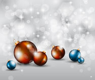 Merry Christmas Elegant Suggestive Background. For Greetings Card with glitter lights and stunning baubles Stock Photos