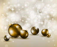 Merry Christmas Elegant Suggestive Background. For Greetings Card with glitter lights and stunning baubles Stock Photography
