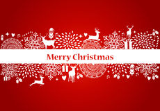 Merry Christmas elements red postcard vector file. Stock Photo