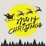 Merry christmas elements Santa Claus riding in a sleigh with reindeer. Vector illustration Stock Image
