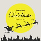 Merry christmas elements Santa Claus riding in a sleigh with reindeer. Vector illustration Royalty Free Stock Photos
