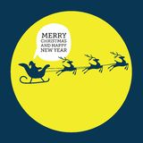 Merry christmas elements Santa Claus riding in a sleigh with reindeer. Vector illustration Royalty Free Stock Photography