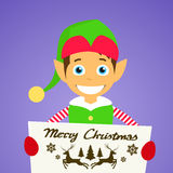 Merry Christmas Elf Cartoon Character Poster. Little Santa Helper Greeting Card Hold Placard Sign Board Blank with Copy Space Flat Vector Illustration Stock Photos