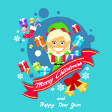 Merry Christmas Elf Female Character Poster Little Stock Image