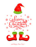 Merry Christmas with elf hat and shoes Royalty Free Stock Image