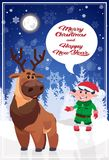 Merry Christmas Elf And Reindeer On Holiday Greeting Card Royalty Free Stock Image