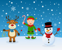 Merry Christmas Elf Reindeer Snowman Royalty Free Stock Photos