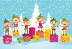Merry Christmas Elves royalty free illustration