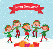 Merry Christmas elves. A few children celebrating Christmas elf costumes Royalty Free Stock Photos