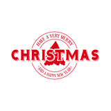 Merry Christmas emblem calligraphy illustration Royalty Free Stock Photography