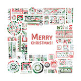 Merry Christmas! Ethnic handmade ornament for your design. Vector illustration Royalty Free Stock Image