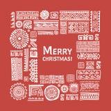 Merry Christmas! Ethnic handmade ornament for your design Stock Photo