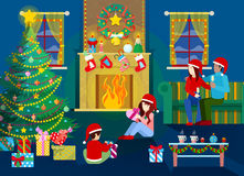 Merry Christmas Eve. Happy Family in Home Interior with Christmas Tree, Fireplace and Gifts. Vector Background Stock Photo