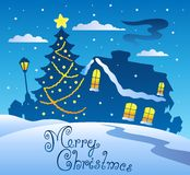 Merry Christmas evening scene 2. Vector illustration Stock Image