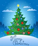Merry Christmas evening scene 4 Royalty Free Stock Photography