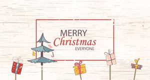 Merry christmas everyone concept for flyer, banner, invitation, card, congratulation or poster design with tree, gift box on woode. Merry christmas everyone Royalty Free Stock Images