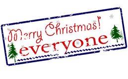 Merry Christmas everyone. Rubber stamp with text Merry Christmas everyone inside,  illustration Royalty Free Stock Photography
