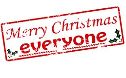 Merry Christmas everyone. Rubber stamp with text Merry Christmas everyone inside,  illustration Stock Images