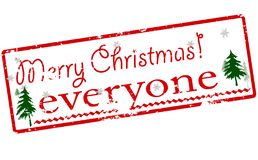 Merry Christmas everyone. Rubber stamp with text Merry Christmas everyone inside,  illustration Stock Image