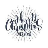 Merry Christmas everyone typography label. Retro photo overlay, badge. Vector holiday lettering illustration. Xmas Stock Photos