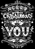 Merry Christmas Everyone, Vintage Background With Typography and. Elements,Vintage hand lettering Christmas greetings on blackboard background with chalk Royalty Free Stock Photos