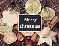 Merry Christmas and facilities for making cookies Royalty Free Stock Image