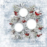 Merry Christmas family card. Winter wooden background Stock Images