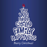 Merry Christmas Family Greeting Card. Blue Royalty Free Stock Image