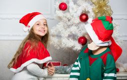 Merry christmas. Family holiday tradition. Children cheerful celebrate christmas. Siblings ready celebrate christmas or. Meet new year. Kids christmas costumes royalty free stock photos