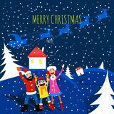 Merry christmas family paper cut style card stock image
