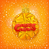 Merry christmas fancy gold ornament bauble triangle shape holiday card template Stock Images