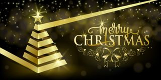 Merry christmas fancy luxury gold ribbon xmas tree, golden star in flat style royalty free illustration