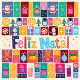 Merry Christmas Feliz Natal - portuguese - Portuguese greeting card Royalty Free Stock Photography