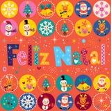 Merry Christmas Feliz Natal - portuguese - Portuguese greeting card Royalty Free Stock Photos