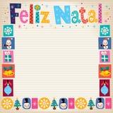 Merry Christmas Feliz Natal - portuguese - Portuguese greeting card Stock Photos
