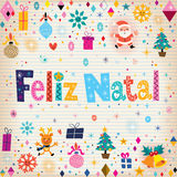 Merry Christmas Feliz Natal - portuguese - Portuguese greeting card Stock Photography