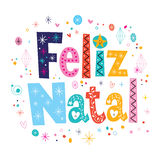Merry Christmas Feliz Natal - portuguese - Portuguese lettering decorative text Royalty Free Stock Photography