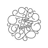 Merry Christmas Feliz Navidad flourish calligraphy lettering of swash line typography for Spanish greeting card design. Vector fes. Tive ornamental quote Royalty Free Stock Photography
