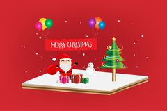 Merry Christmas Festival 3d concept. Gift box and Christmas tree with red banner hanging on a balloon multicolor on a red color background. Vector illustration Stock Photography