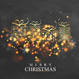 Merry Christmas festive background with gifts. Creative golden gift boxes made by snowflakes, stars and spirals, Beautiful glowing festive background, Can be Stock Image