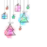 Merry Christmas festive background with gifts. Merry Christmas festive background decorated with hand drawn hanging gifts, stars and xmas tress, Can be used as Royalty Free Stock Photos