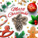 Merry Christmas festive background with gingerbread men and Christmas decoration,  illustration. Stock Photography