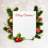 Merry Christmas Festive Background. With greeting card fir twigs jingle bells candies balls ribbons thorn vector illustration Stock Photography