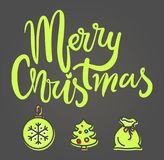 Merry Christmas Festive Banner Vector Illustration. Merry Christmas festive banner on gray background. Vector illustration with green decorated xmas tree, glass Royalty Free Stock Images