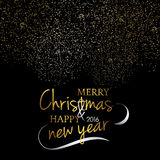 Merry Christmas. Festive black background with gold calligraphic greeting text. Snowflakes and fireworks effect. Handwritten letters. Ready design card Stock Images