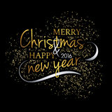 Merry Christmas. Festive black background with gold calligraphic greeting text Stock Photo