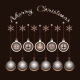 Merry Christmas. Festive boxes and Xmas balls vector illustration